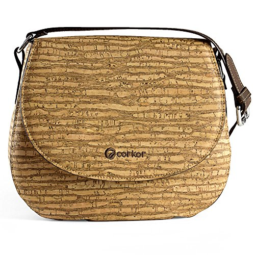 Corkor Saddle Bag for Women Crossbody Non-Leather Vegan Cork Zebra