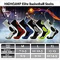 HIGHCAMP Elite Basketball Socks for Men & Women with Basketball Logo Athletic Crew Socks