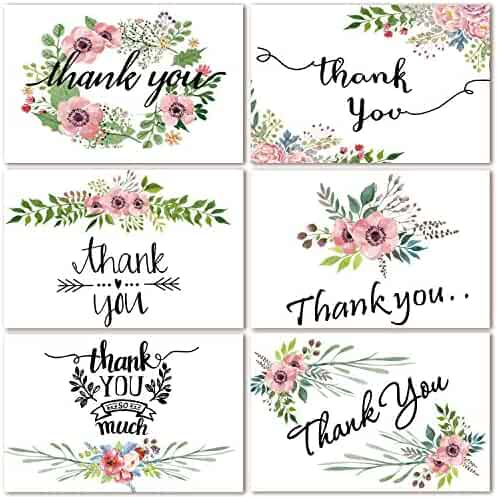 48 Bulk Thank You Cards Floral Flower Thank You Notes for Wedding, Baby Shower, Bridal Shower, Anniversary, 6 Design 4 x 6 inch Blank Thank U Cards with Adhesive Brown Craft Envelopes