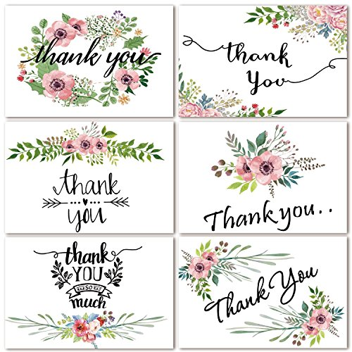 - 48 Bulk Thank You Cards, Floral Flower Thank You Notes Greeting Cards for Wedding, Baby Shower, Bridal Shower, Anniversary, 6 Design 4 x 6 inch Blank Thank U Cards with Adhesive Brown Craft Envelopes