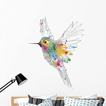 Watercolor hummingbird removable Wallpaper traditional Temporary Peel and Stick  #82 white Print wall mural Self Adhesive Wall Decal