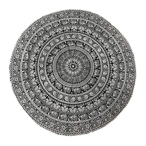 raajsee Black White Walking Elephant Round Beach Tapestry Hippie/Boho Mandala Beach Blanket/Indian Cotton Throw Bohemian Round Table Cloth/Yoga Mat Meditation Picnic Rugs 70 inch Circle/A (Beach Elephant)