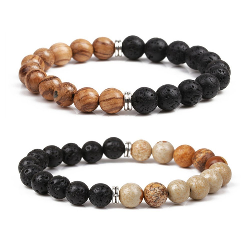 SIVITE Lava Rock Picture Jasper Wood Mala Prayer Bead Bracelet Essential Oil Diffuser Meditation Bracelet YML BBEAD-005