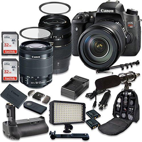 Canon EOS Digital Rebel T6s 24.2MP SLR Digital Camera with Canon EF-S 18-55mm f/3.5-5.6 IS STM Lens + Tamron AF 70-300mm f/4-5.6 Lens + 2pc SanDisk 32GB Memory Cards + Battery Grip