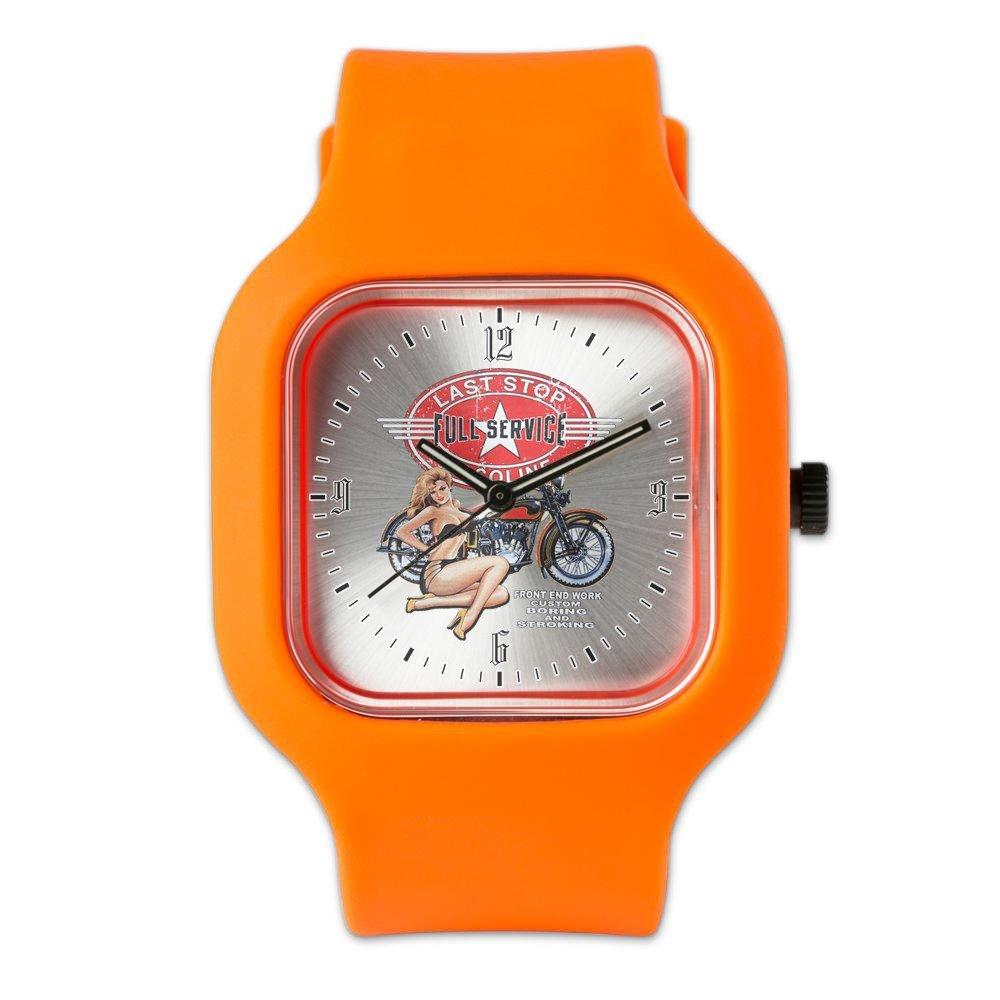Orange Fashion Sport Watch Last Stop Service Motorcycle Girl
