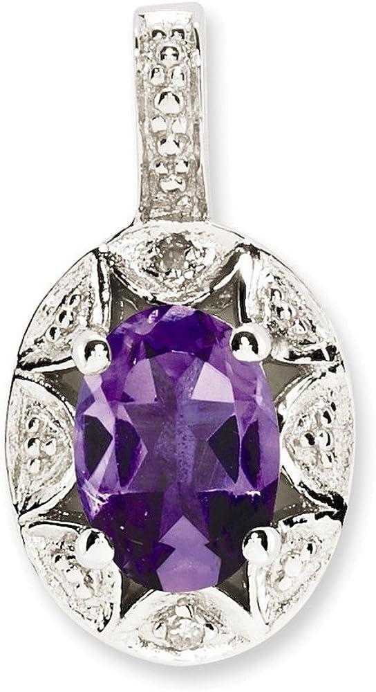 Sterling Silver Rhodium-plated Diam /& Amethyst Pendant