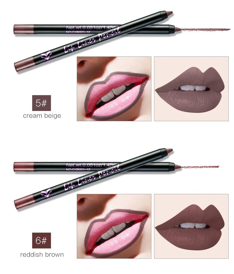 CCbeauty 12Pcs Lip Liner Pencil Set with Sharpener Professional Matte Lip Liner Long Lasting Waterproof Smooth Cosmetics Set of 12 Color