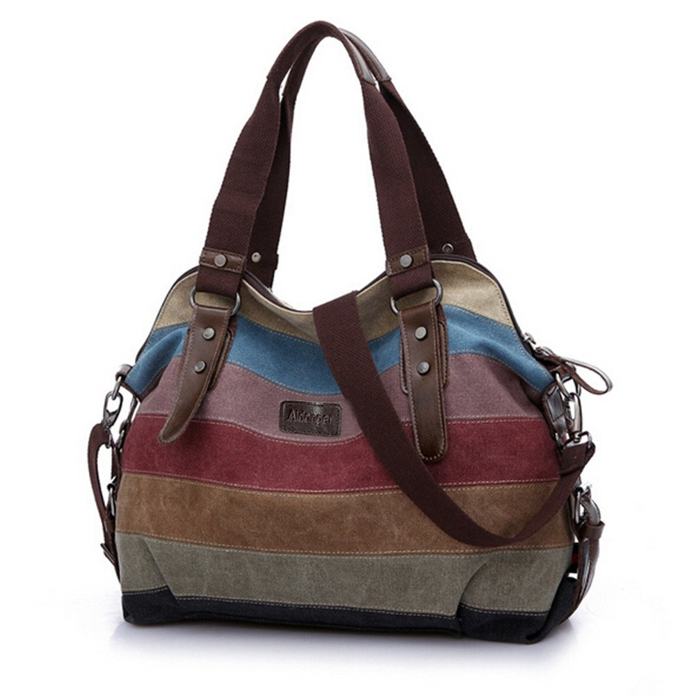 Aidonger Vintage Multi-colored Canvas Shoulder Bag Handbag for women ( Strip) BB22