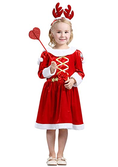jj gogo christmas costume girls kids xmas party fancy santa claus dress costume