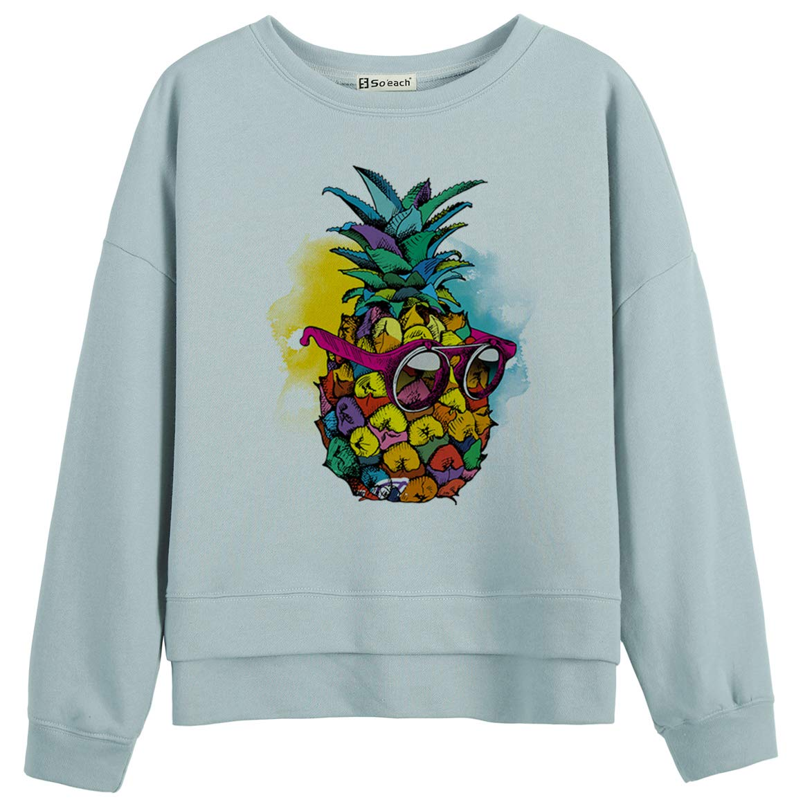 So'each Women Jumper Sweatshirt Sunglasses Pineapple Words Print Blue
