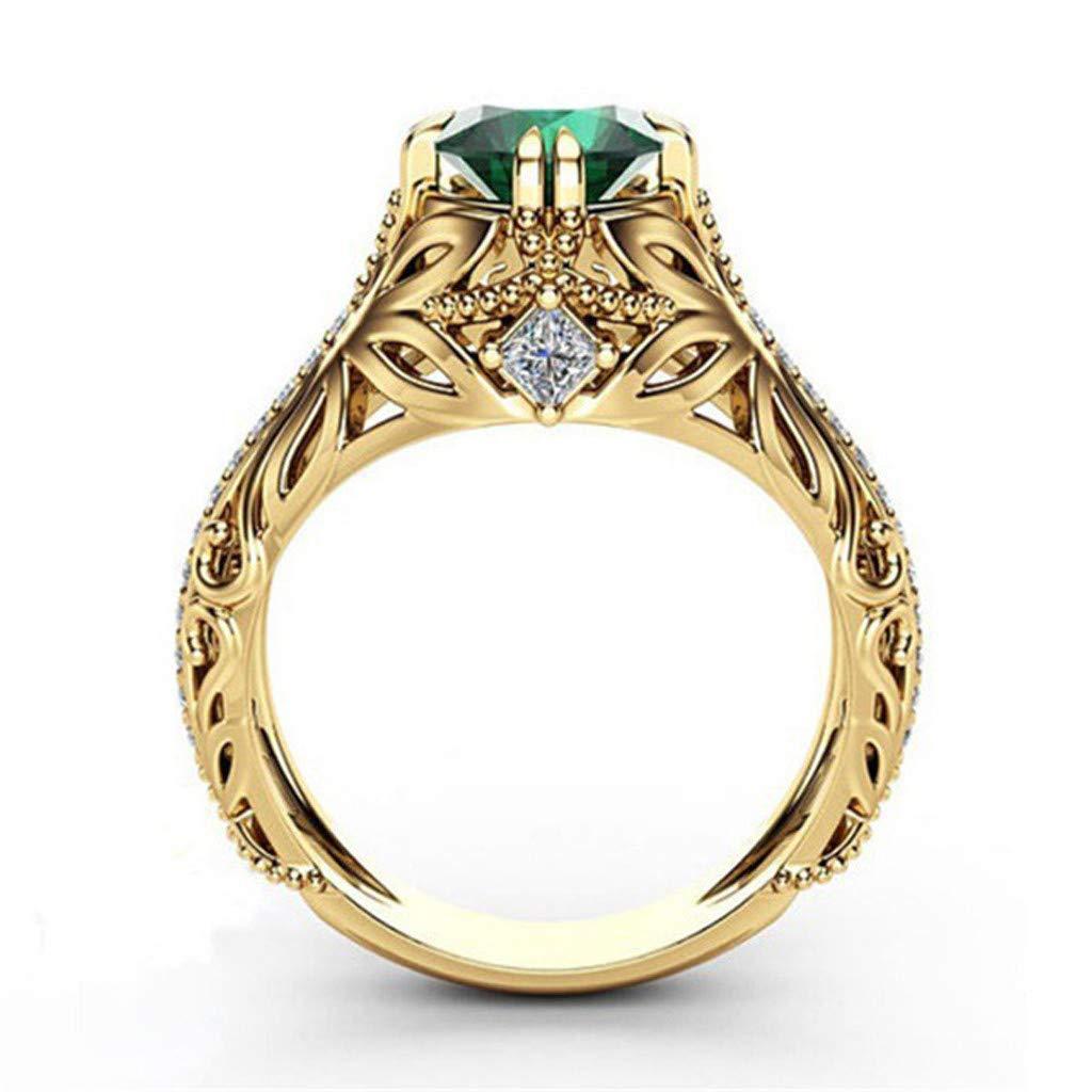 ballsFHK Fashion European and American Luxury Simulation Green Diamonds Women's Wedding Ring