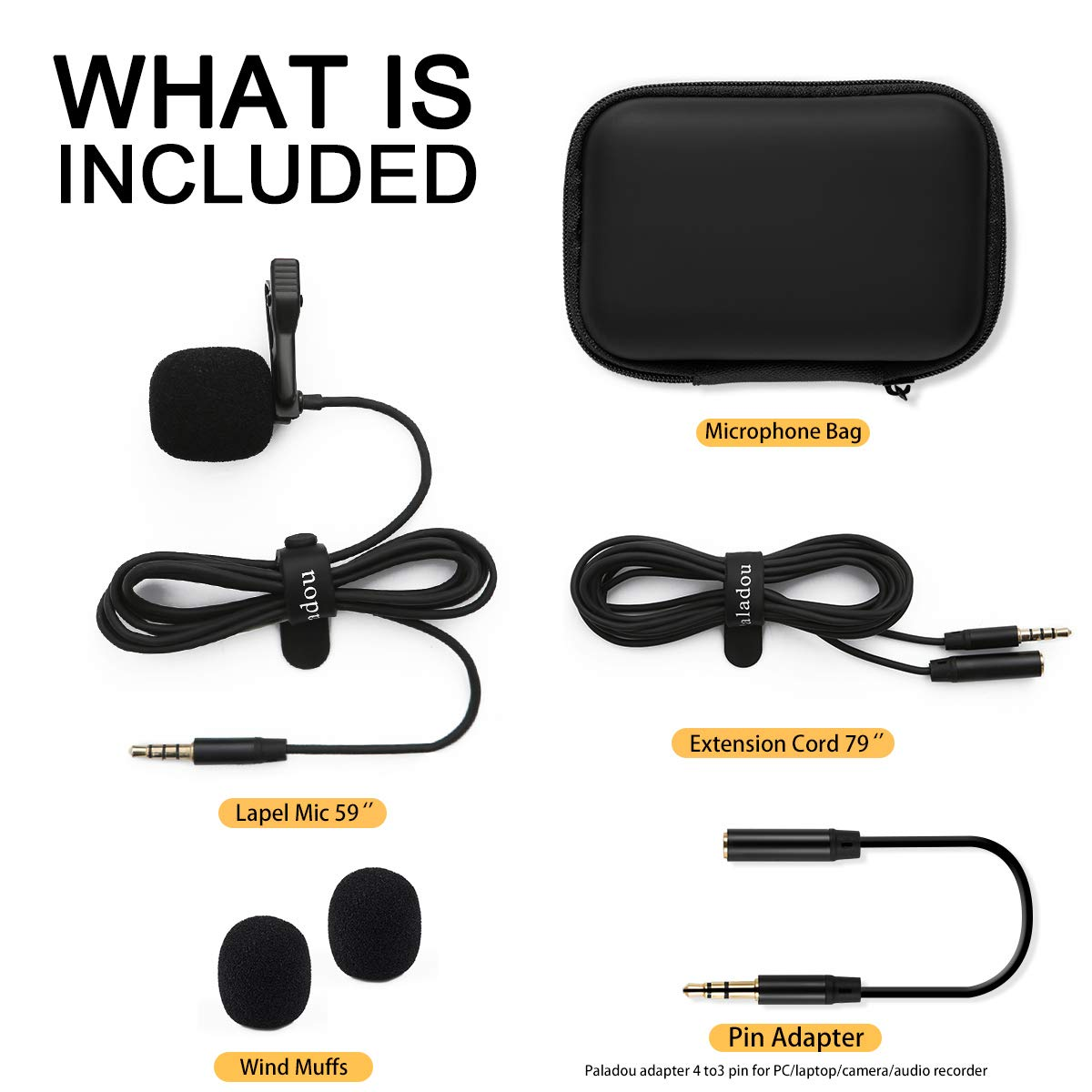 Lavalier Lapel Microphone 3.5mm Mic Pro Best for iPhone Android Smartphones Recording//YouTube//Podcast//Voice Dictation//Video Conference//Studio//Interview//External Condenser Cell Phone