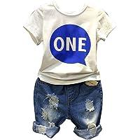 2 Piezas De Trajes De Niños Camiseta Manga Corta Y Pantalones Cortos De Jeans