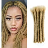 Dreadlocks Extensions Human Hair 8 inch 20 strands Dsoar Locs Extensions Crochet Dreads(Width 0.8 cm,Light Brown/27#)
