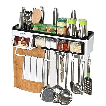 Estante de pared para macetas, cubertería para colgar en la pared, caja de almacenamiento, organizador de utensilios de cocina de temporada: Amazon.es: ...