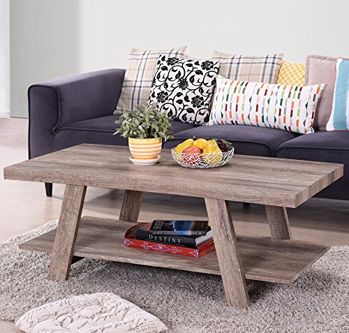 Harper & Bright Designs Solid Wood Coffee Table Living Room Set (Natural)