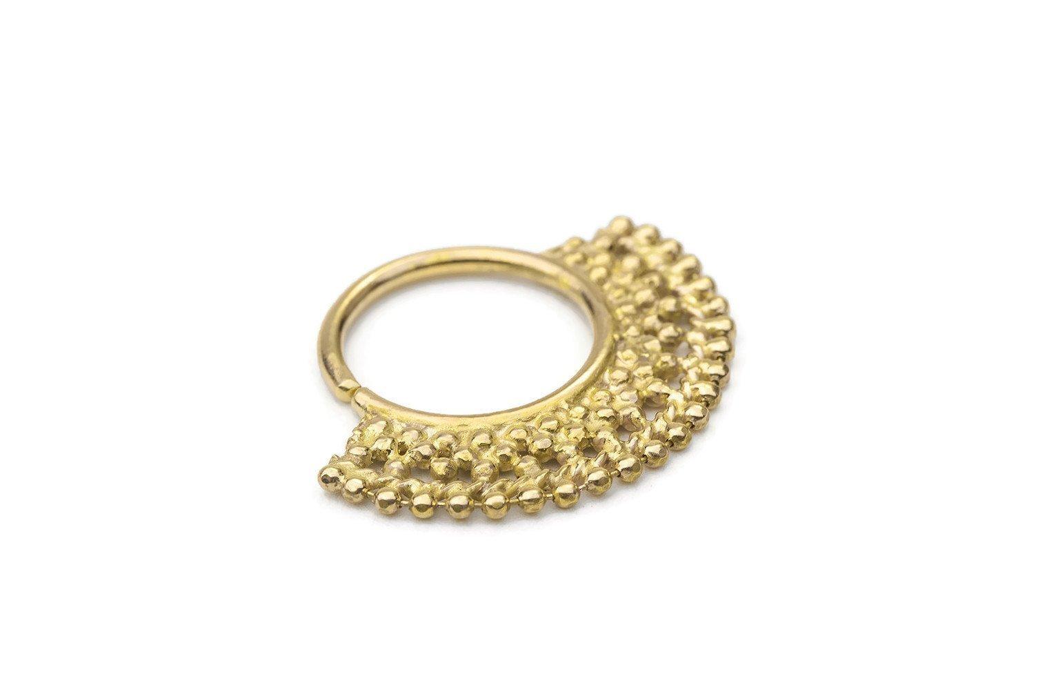 Tribal Septum Ring: Solid 14k Gold 20g-14g Septum / Ear Piercings Jewelry.