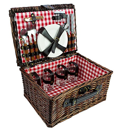 Picnic Basket Set - Deluxe Wicker Outdoor Picnic Basket for 4 with Red and White Gingham Patterned Liner - Includes Silverware, Glasses, and Accessories for Four People - Gingham Plaid Tote