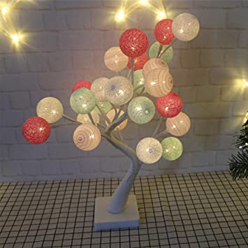 UICICI Luz de Navidad Lámpara de Mesa de árbol de Bolas de algodón ...