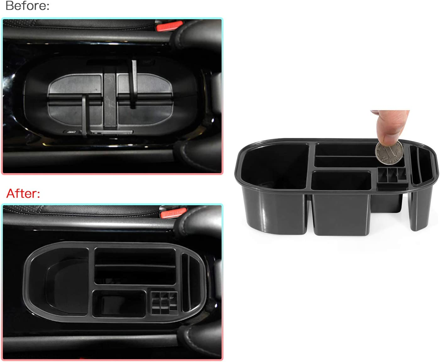 Change Holder Center Console Storage Box CDEFG Car Armrest Box Storage Cup Holder Coins Organizer Case for 2016-2019 HRV