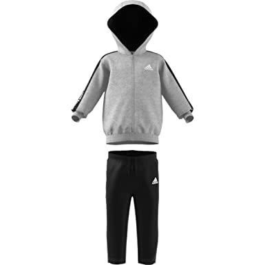 adidas 3 Stripes Full Zip Hooded Fleece Traje de baño, Bebé-Niños ...
