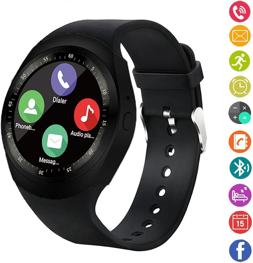 Reloj inteligente,gearlifee reloj con pantalla táctil Bluetooth Smartwatch con ranura para tarjeta SIM TF, podómetro, monitor de sueño para iPhone X / 8 / 8P / 7 / 7p, Samsung, Sony, Huawei, LG(Negro)