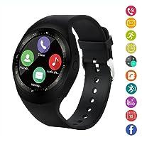 Smart Watch,gearlifee Rotondo Android Bluetooth Smartwatch Touch Screen Orologio con slot per schede SIM TF,Pedometro,Monitor Sonno,Whatsapp,FB per IOS Telefoni iPhoneX/8/8p/7/7p,Samsung,Sony,Huawei(Nero)