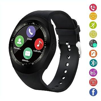 Reloj inteligente,gearlifee reloj con pantalla táctil Bluetooth Smartwatch con ranura para tarjeta SIM TF, podómetro, monitor de sueño para iPhone X / ...
