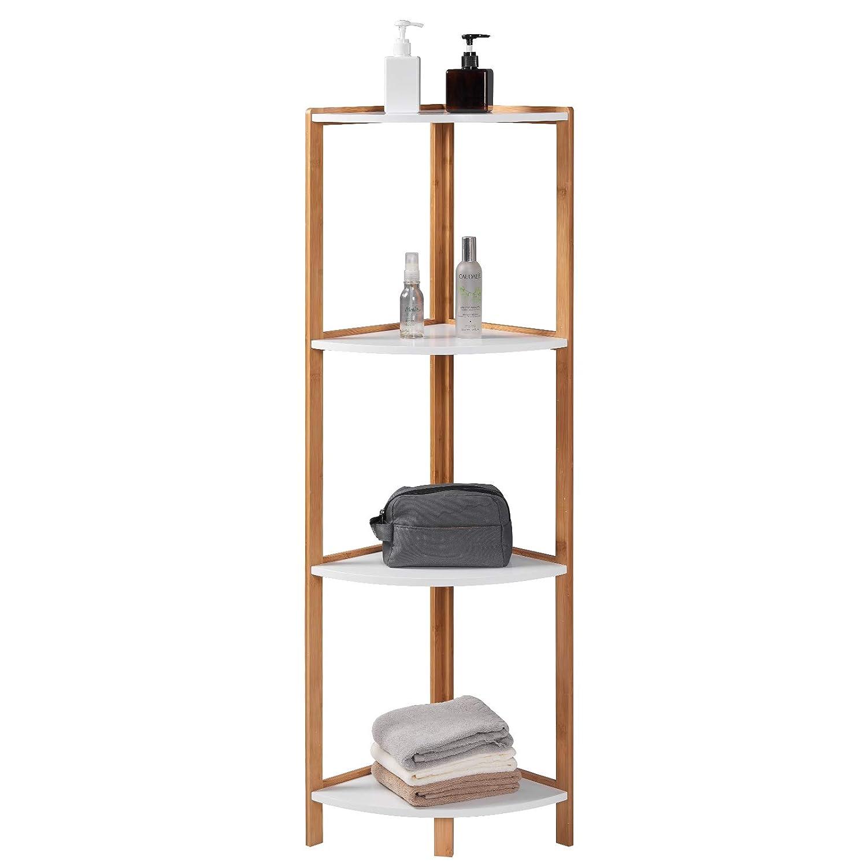 WOLTU Standing Shelf Unit Bookcase with Wooden Shelves,3 tiers Bamboo Frame Storage Shelves Corner Standing Shelves for Living Room Bathroom Ktchen 98x30x30cm