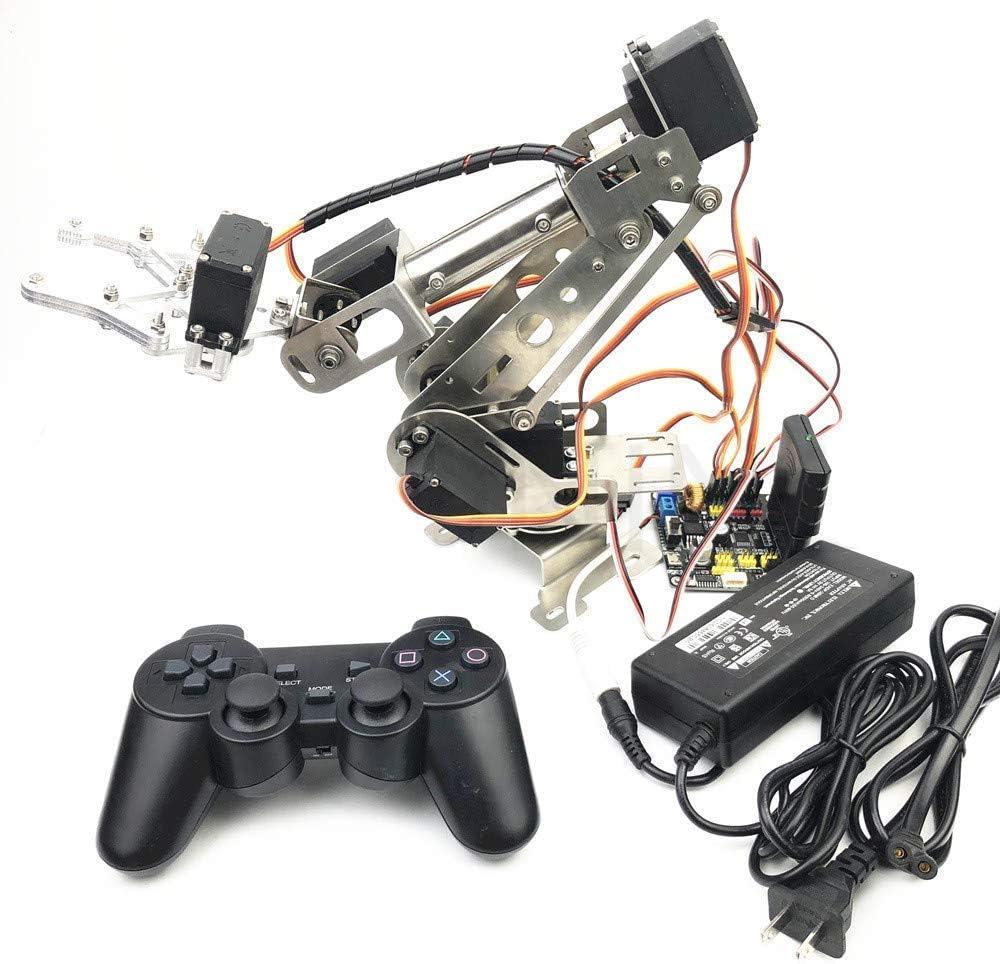 Mnjin Robot programable de Bricolaje Brazo robótico para Estudio Arduino, Robot de Control Remoto 6DOF Hecho a Mano de Acero Inoxidable, Kit de Inicio de Bricolaje Robot con Placa controlado