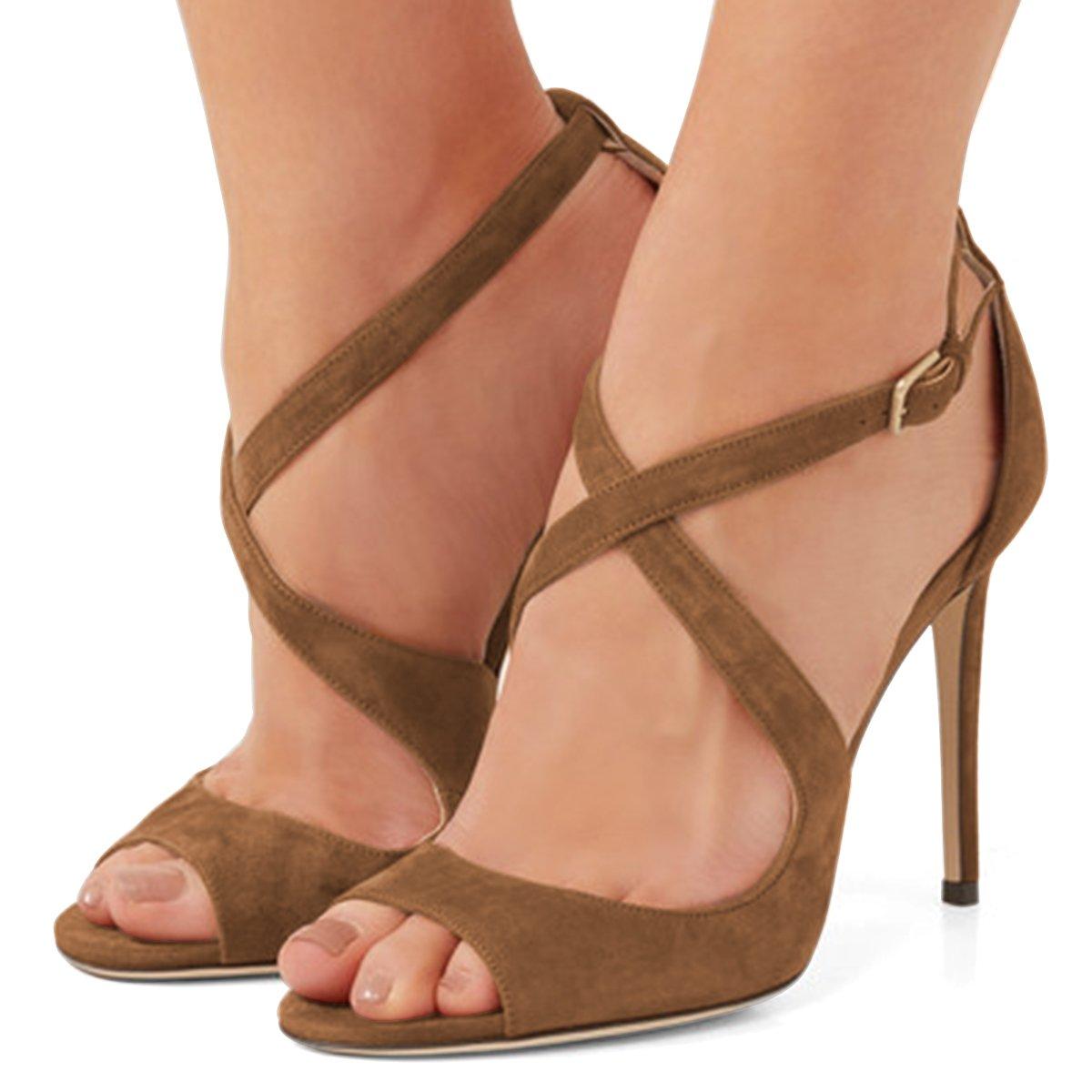 FSJ Women Sexy Faux Suede Sandals Peep Toe Stiletto Heels Pumps Cross Strap Cutout Shoes Size 4-15 US B079Z62FJ4 15 B(M) US|Brown