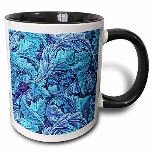 3dRose Russ Billington Designs - Beautiful William Morris Acanthus Leaf Pattern in Blue - 15oz Two-Tone Black Mug (mug_220190_9)