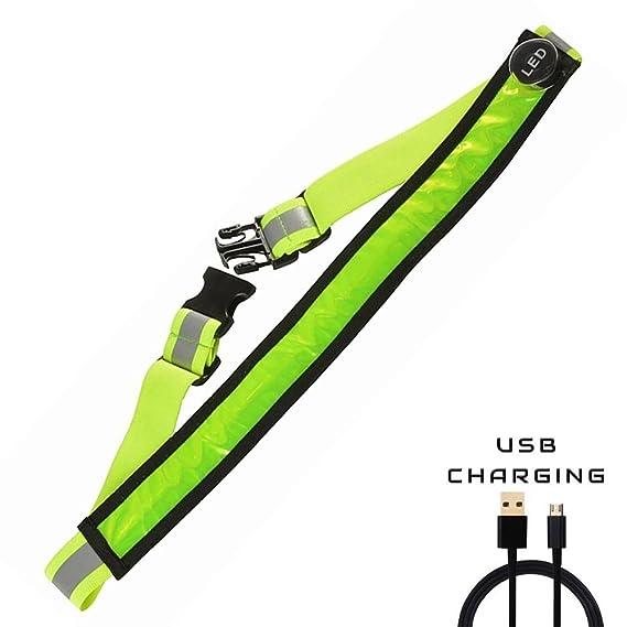 AGPTEK LED Reflektierender Gürtel USB aufladbare LED – Hohe Sichtbarkeit für Laufen Wandern Radfahren - Passend für Frauen, M