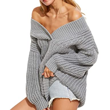 Rovinci Herbs Winter Damen Pullover Off Schulter Langarm Einfarbig  Strickpullover V-Ausschnitt Sweater Oberteile Hemd 147f41c3ab