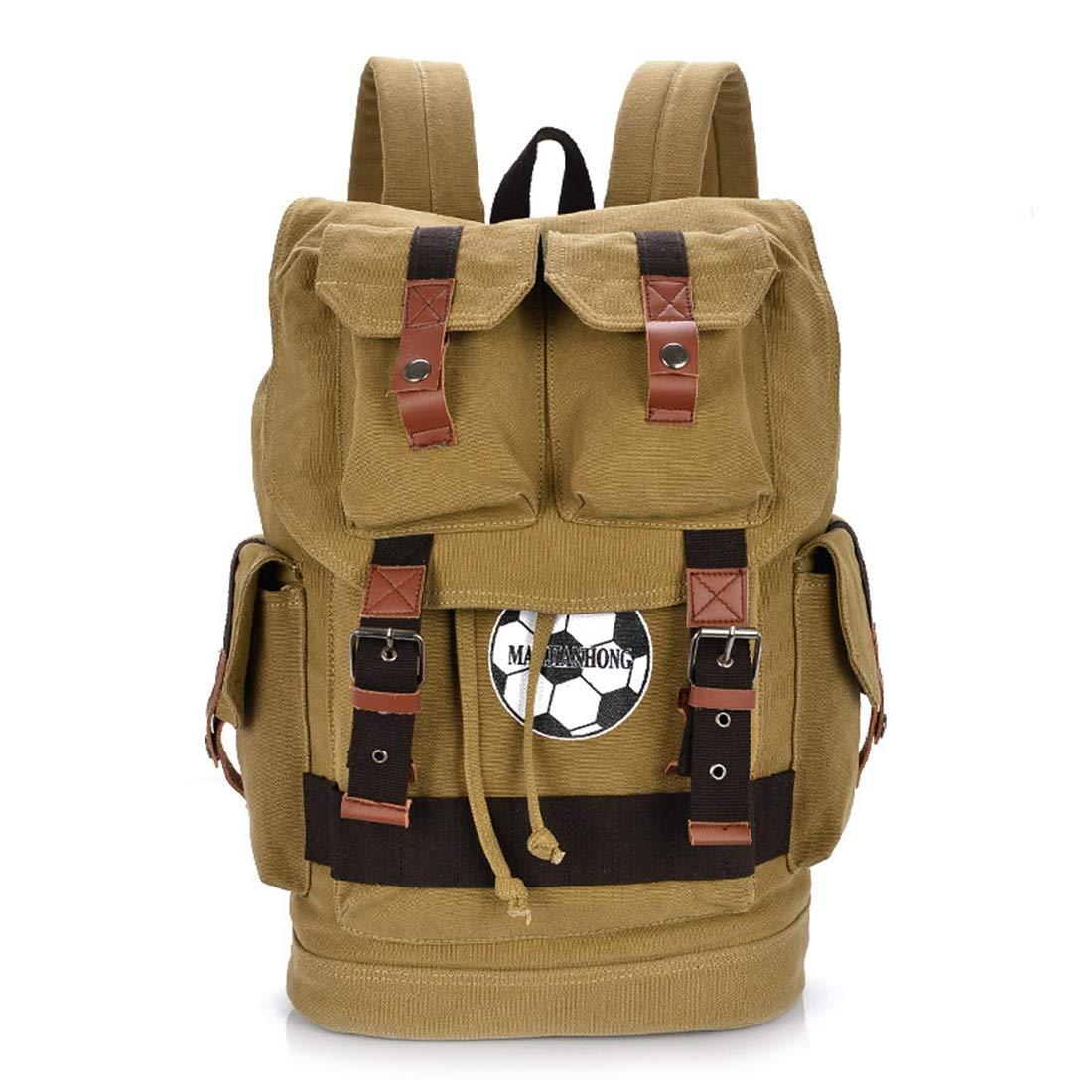 UICICI Canvas Bag Männer und Frauen Rucksack Outdoor Wear Breathable Large Capacity Casual Canvas Rucksack (Farbe   Khaki) B07NVNG94V Daypacks Verrückter Preis