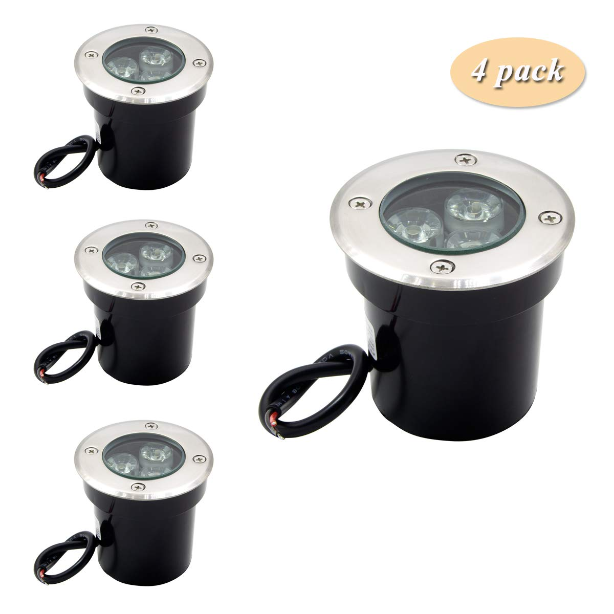ALEDECO 4 Pack 3w 12v Low Voltage In-ground Lights LED Landscape Lighting Waterproof IP67 Pathway Lights Warm White Outdoor spotlights Trees Flags for Garden,Yard,Tree by ALEDECO