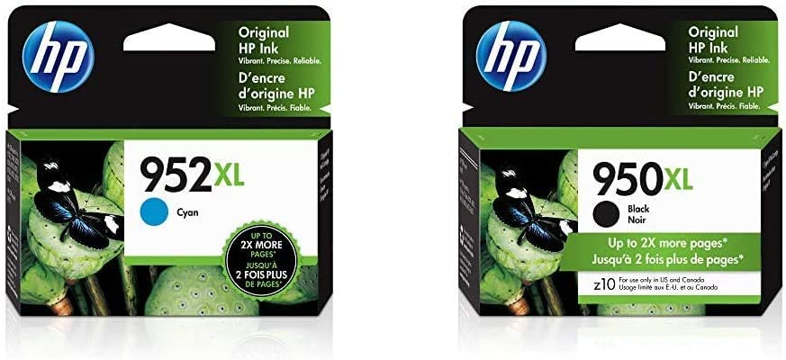 HP 952XL | Ink Cartridge | Cyan | L0S61AN & 950XL | Ink Cartridge | Black | CN045AN