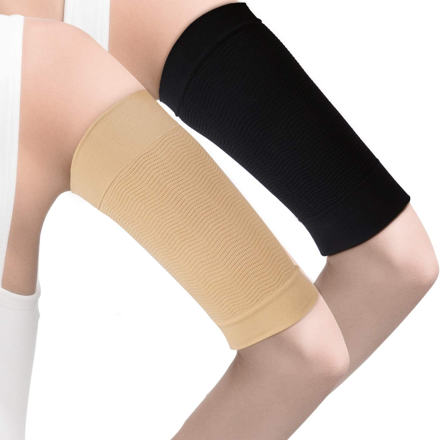 4 Pairs Slimming Arm Sleeves Arm Elastic Compression Arm Shapers Sport Fitness Arm Shapers for Women Girls Weight Loss (Black and Nude Color): Health & Personal Care