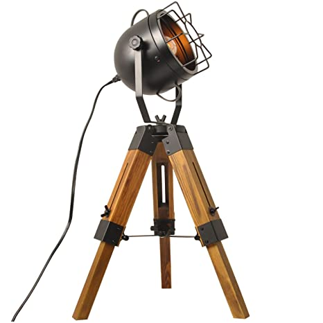 Mesh Table Lamp Round Searchlight Industrial Vintage Floor Table Tripod  Lamps,Wooden Stand Lamp