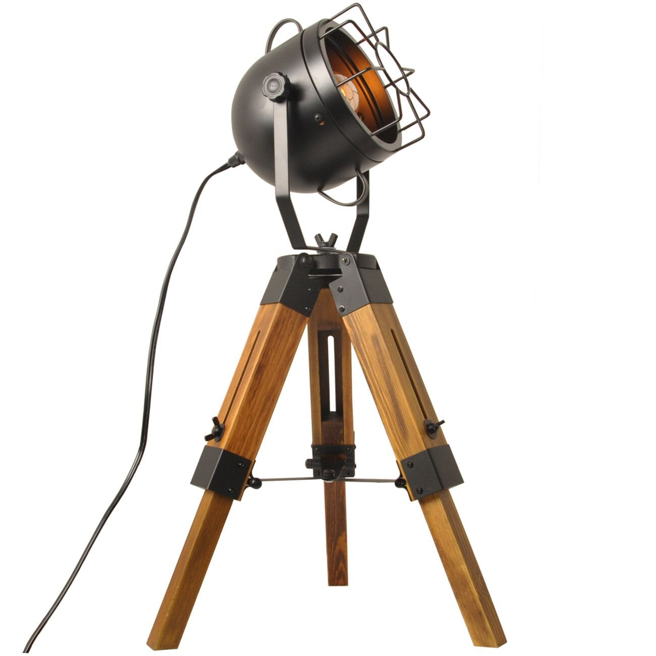 Mesh Table Lamp Round Searchlight-Industrial Vintage Floor Table Tripod Lamps,Wooden Stand Lamp Black,Antique Home Decor Searchlight Floor Lamp,Mini Tripod Light-Without Edison Led Bulbs