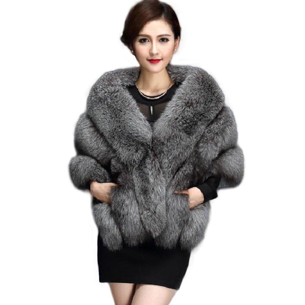 Manka Vesa Women Luxury Faux Fur Coat Jackets Wrap Cape Shawl for Wedding Party