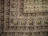 Veggie Dye Block Print Tapestry Cotton Bedspread 106'' x 86'' Full Black