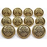 "MetalBlazerButtons.com Brand - ANTIQUE GOLD - HERALDIC LION CREST - (11-Button, Single Breasted) METAL BLAZER BUTTON SET - 7/8"" & 5/8"" BUTTONS"