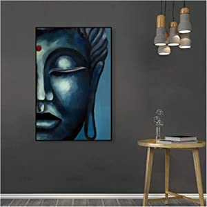 Wall Art ZXYFBH Canvas Art Oil Painting Half face of Buddha Statue Artwork Picture Poster Wall Decor Modern Home Living Room Decoration 19.7x27.6in(50x70cm) x1pcs No Frame