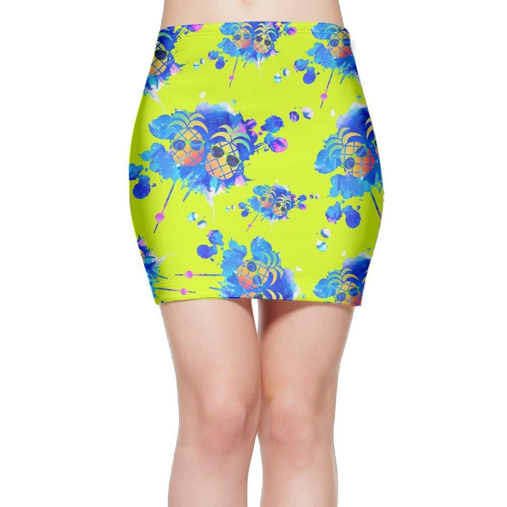 DLdse Graffiti Paint Pineapple Sunglasses Women Mini Skirts Bodycon Pencil Casual Skirts