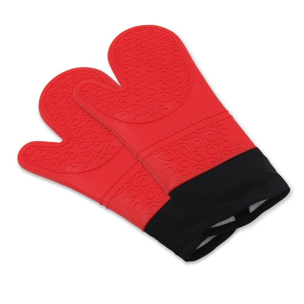 Silicone Oven Mitts - Commercial Grade, Extra Long Quilted Cotton Lining - Heat Resistant Kitchen Potholder Gloves - 1 Pair (Red)