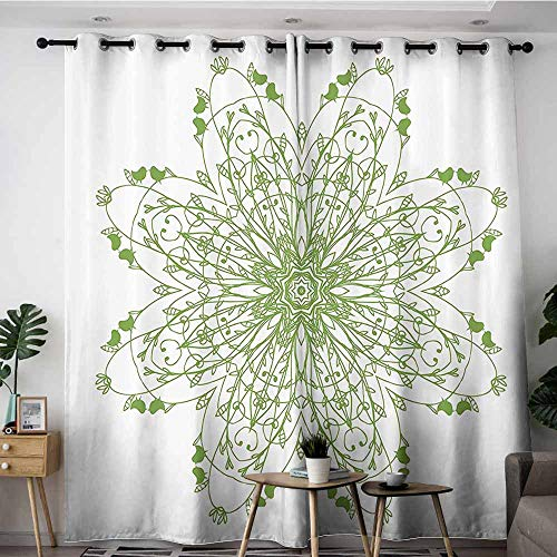 (VIVIDX Doorway Curtains,Celtic Decor Collection Oriental Flower Design Circle Pattern with Laurel Leaves and Birds Floral Renaissance Print,Grommet Curtains for Bedroom,W84x72L,Green)