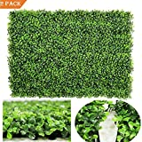 """Artiflr 2pack Artificial Boxwood Hedge Panels,UV Protected Faux Greenery Fence Panels Mats for Privacy Fence Patio,Greenery Walls Indoor Outdoor Decor,16"""" L x 24 W Panels (Green-1)"""