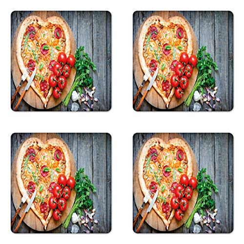 - Lunarable Pizza Coaster Set of 4, Food Themed Photo of Heart Shaped Italian Tradition Tomato Parsley Garlic, Square Hardboard Gloss Coasters for Drinks, Multicolor