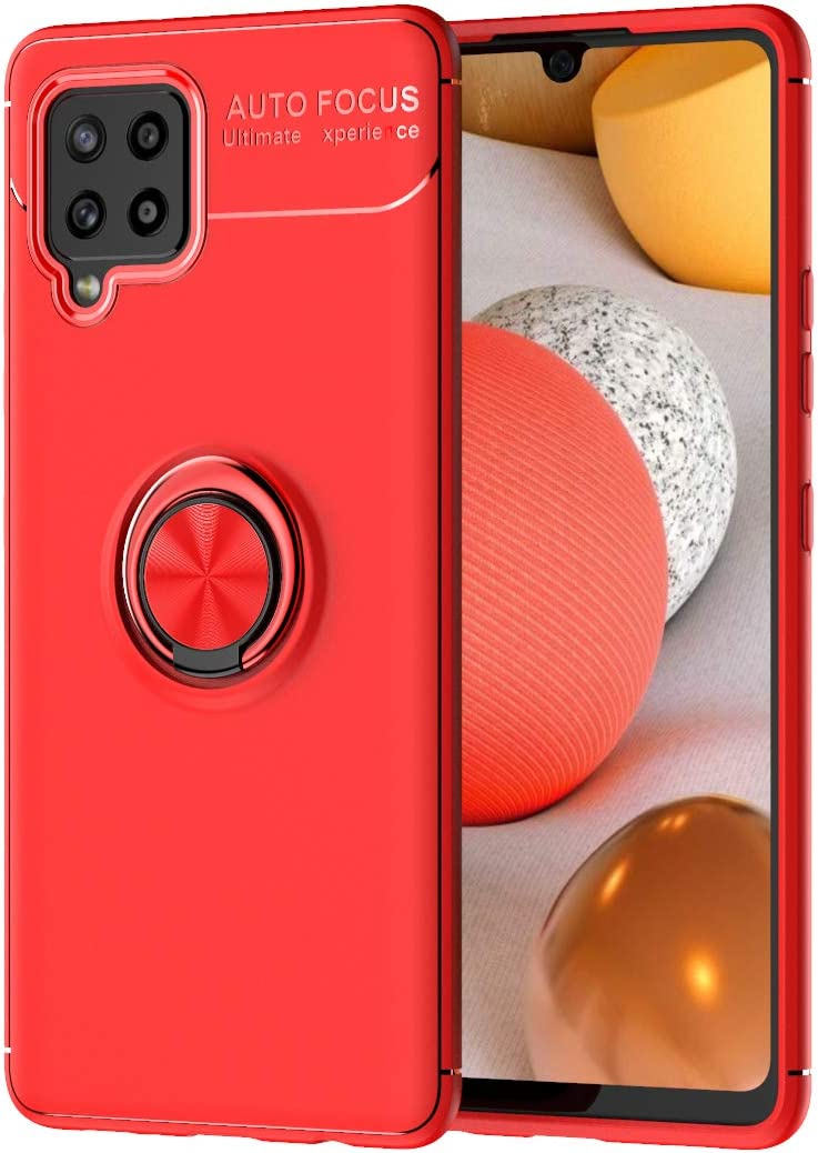 DESCHE compatible for Samsung Galaxy A42 5G Case Cover with Ring Bracket Red compatible with magnetic car bracket Screen protector